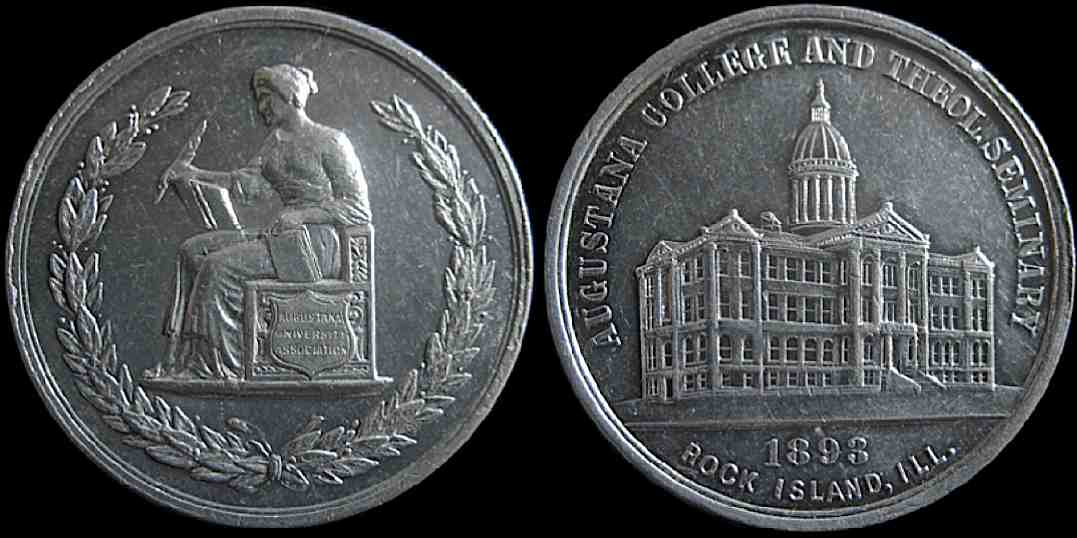 Augustana College Theological Seminary 1893 Rock Island Illinois medal