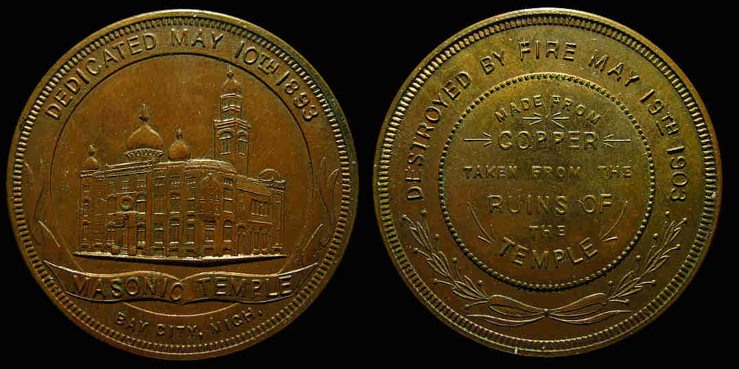Bay City Masonic Temple Destroyed by fire Copper salvage medal 1893 1903