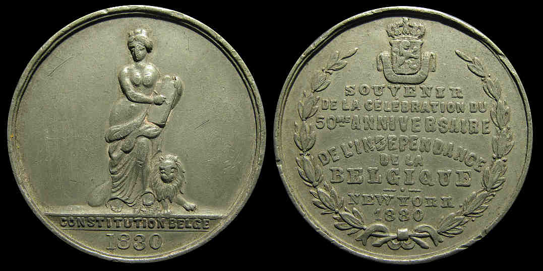 50 year anniv. celebration of Belgium independence New York 1880 medal