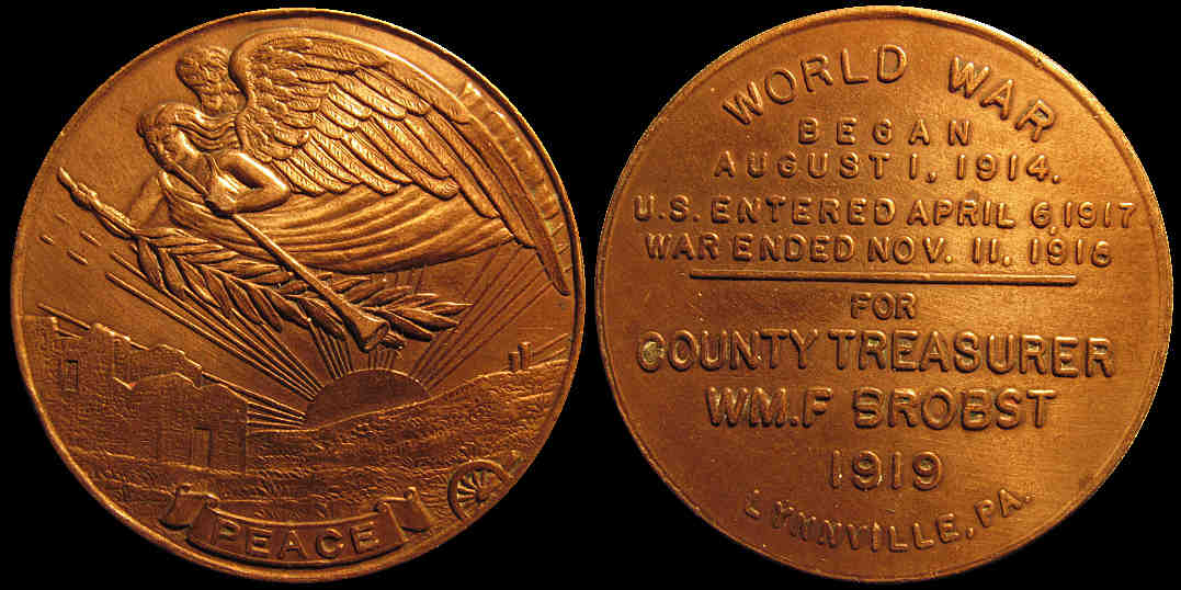 World War One Peace William Brobst Lynnville Pennsylvania medal
