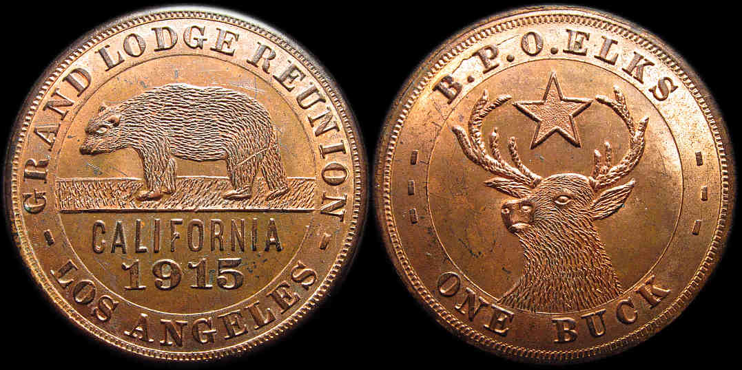 BPO Elks One Buck Grand Lodge Los Angeles 1915 Bear medal