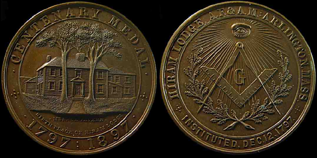 Hiram Lodge Arlington Massachusetts 1797 1897 Mason medal