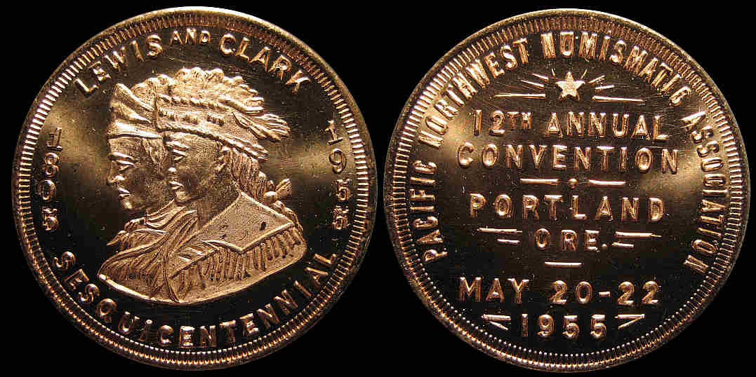 Pacific NW Numismatic 1955 Convention Portland Lewis & Clark medal
