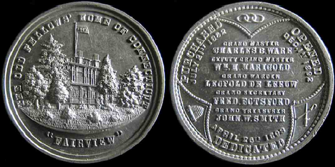 Odd Fellows Home Connecticut Purchased Opened Dedicated medal