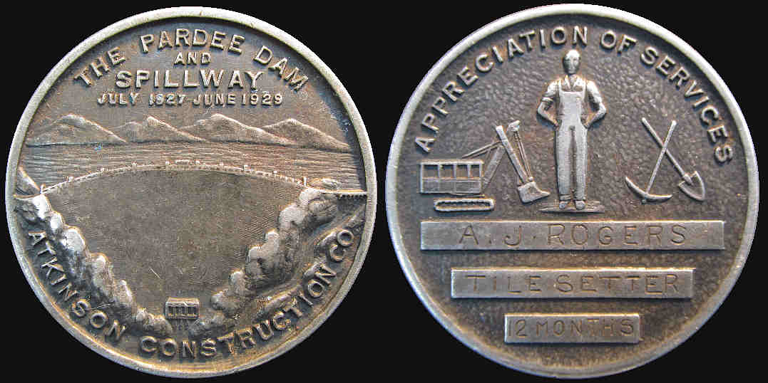 Pardee Dam and Spillway 1929 service medal Atkinson Construction