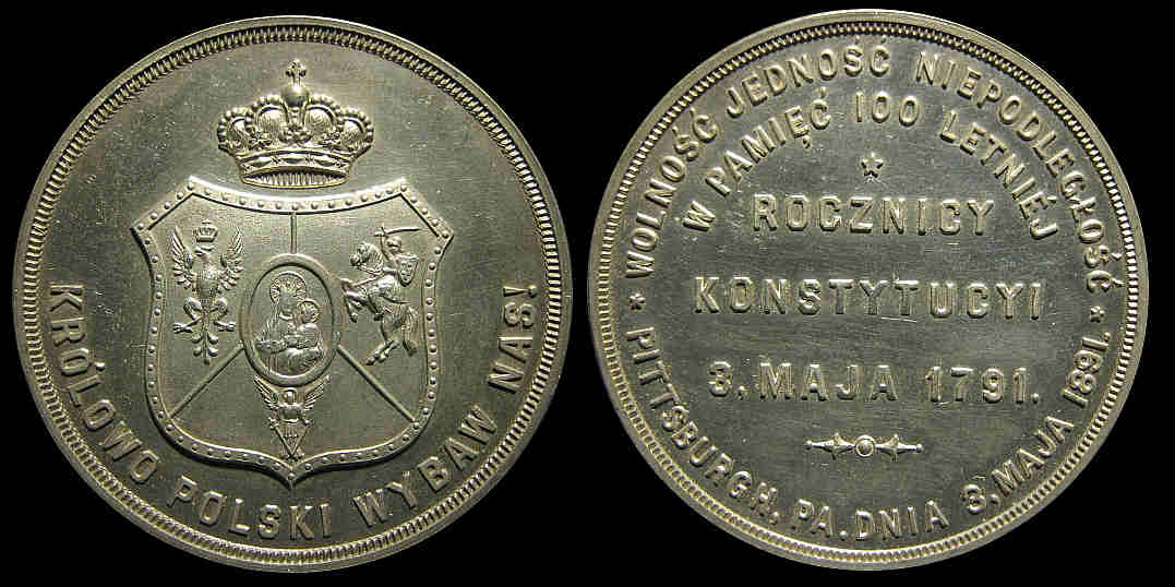 1891 Polish Constitution 1791 1891 Pittsburgh Rocznicy Konstytucyi medal
