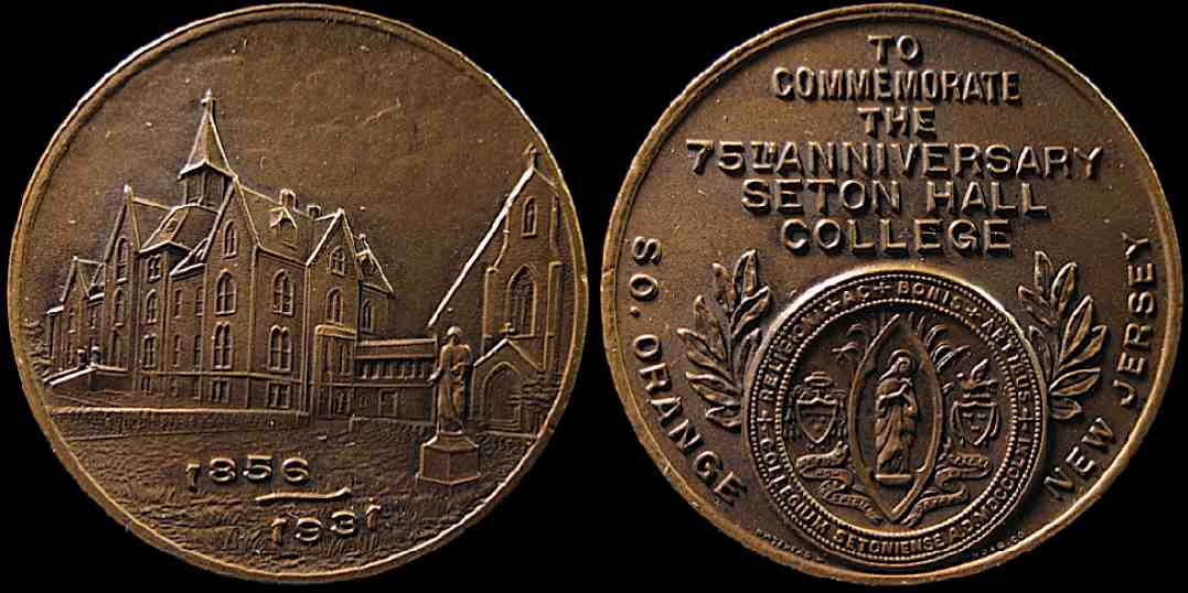 75th Anniversary Seton Hall College New Jersey 1856 1931 medal