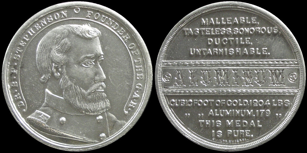 DR. B. F. Stephenson Founder Of The G.A.R. Aluminum Medal