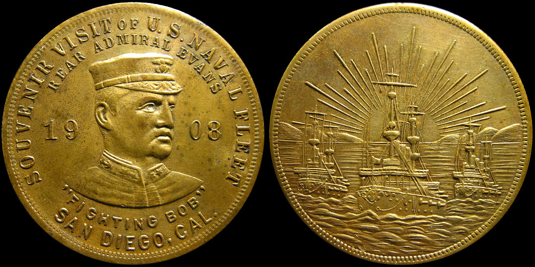 Souvenir Visit Naval Fleet Rear Admiral Evans 1908 Fighting Bob Medal