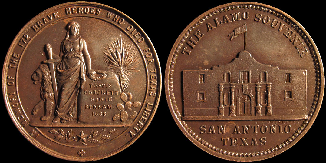 Alamo Souvenir Travis Crockett Bowie Bonham In Memory Of Medal