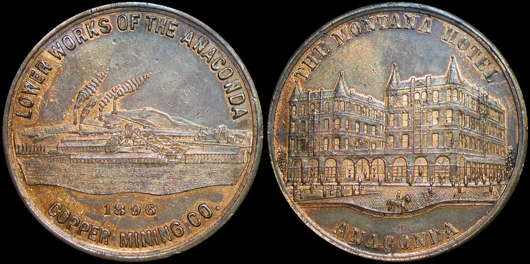 Lower Works Of The Anaconda Montana Hotel Copper 1896 Medal