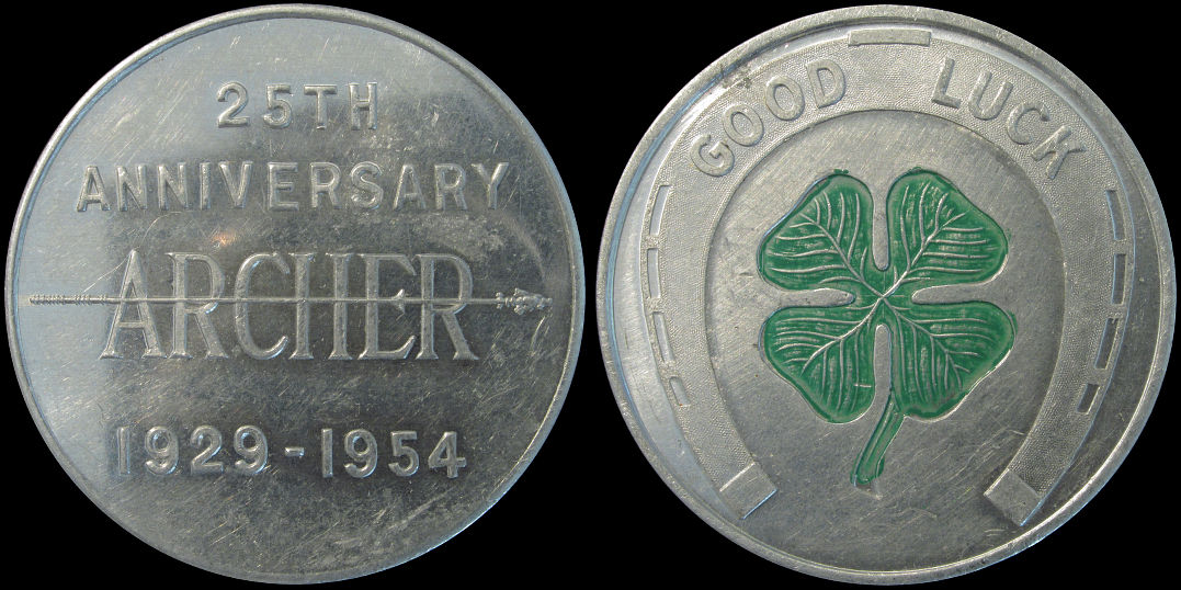 Commemorating 25th Anniversary Of Archer 1929-1954 Good Luck Token