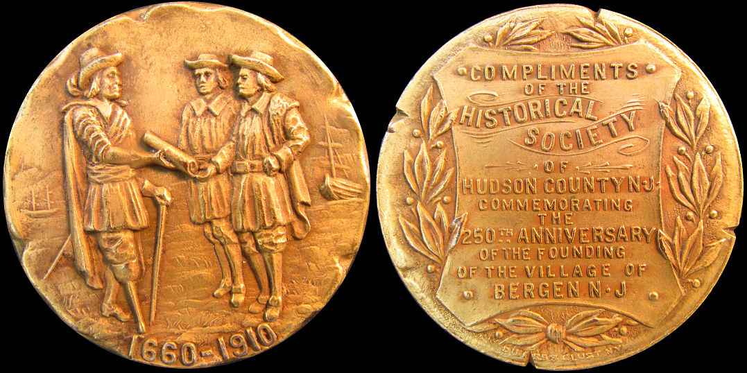 250th Anniversary Bergen New Jersey Hudson County 1910 Medal