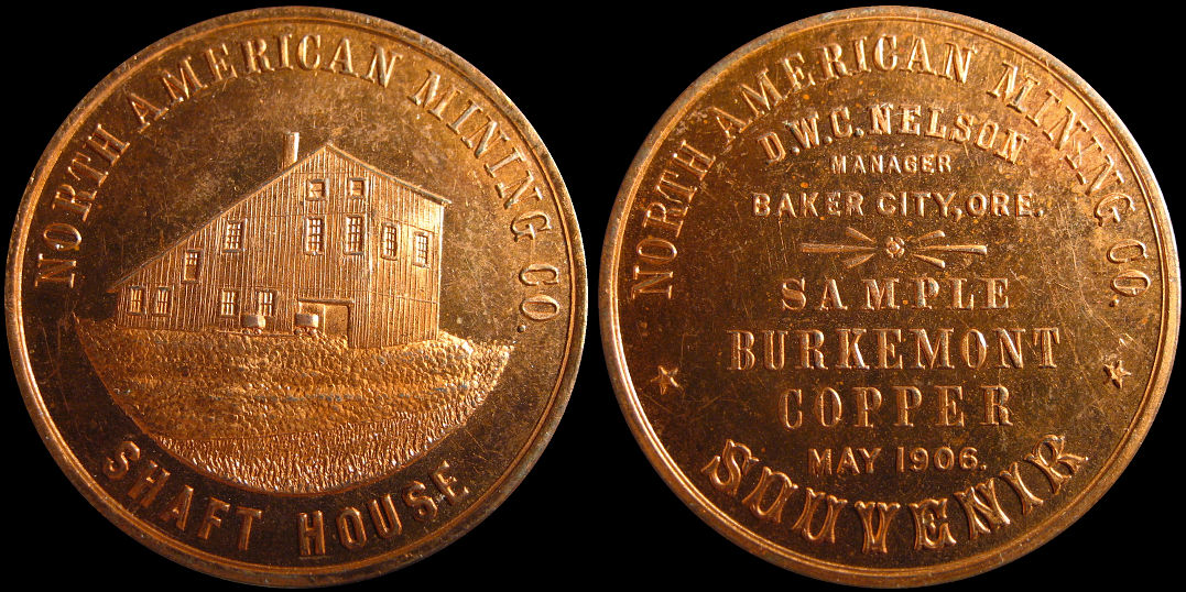 North American Mining 1906 Shaft House Burkemont Copper Souvenir Medal