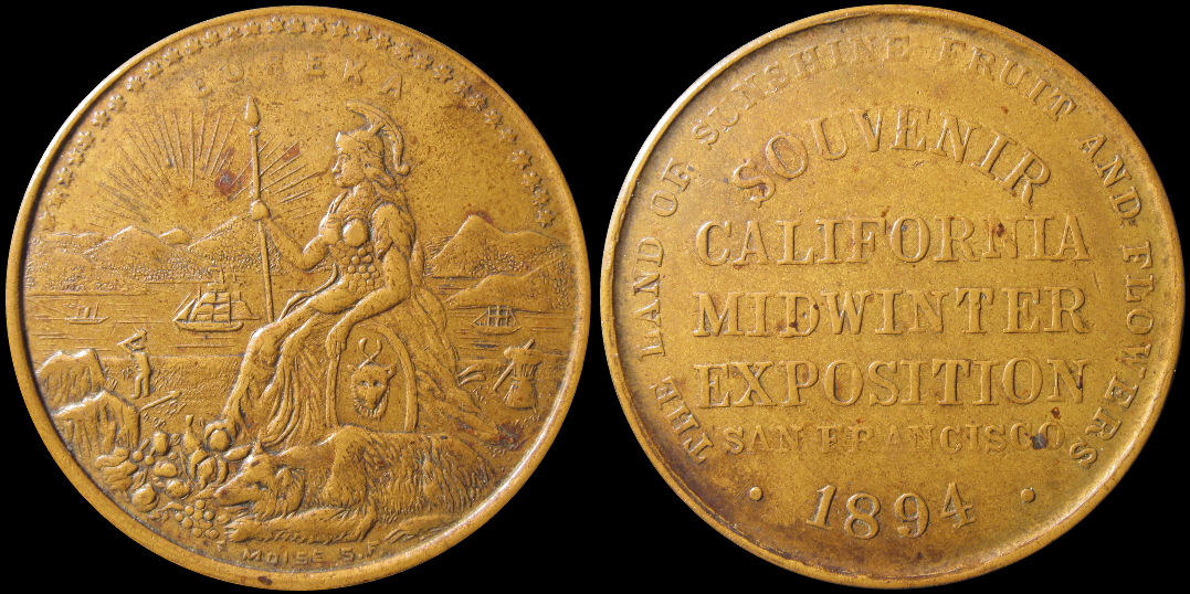 Wide Eureka 1894 California Midwinter Exposition Medal