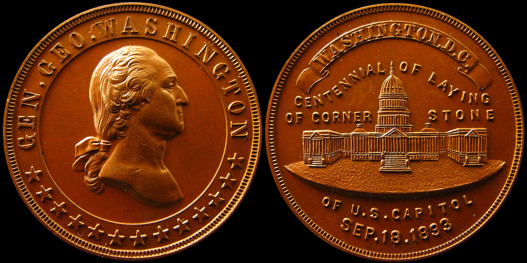 Centennial Laying of the Corner Stone US Capitol Washington 1893 Medal