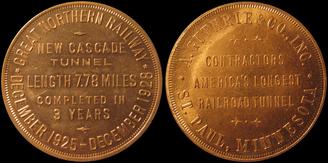 Cascade Tunnel Great Northern Railway 1925 A. Guthrie & Company Medal