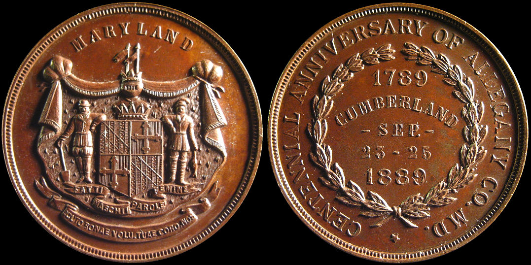 Centennial Allegheny County Maryland Cumberland 1889 Medal