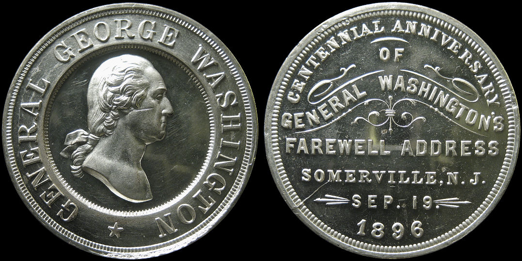 Washington Farewell Address Centennial Somerville 1896 Medal