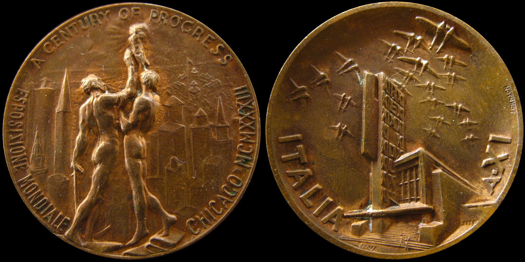 Century of Progress Italia 1933 Chicago Mondiale Medal