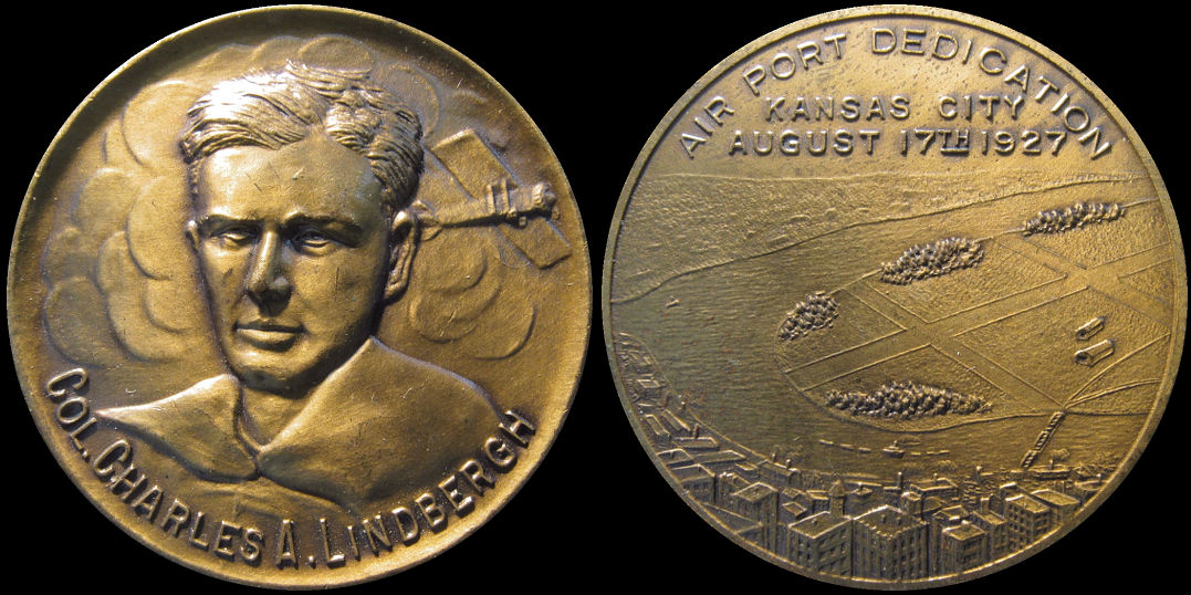 Charles Lindbergh Airport Dedication Kansas City 1927 Medal