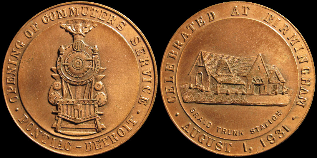 Opening Commuter Train Service Pontiac To Detroit Birmingham 1931 Medal
