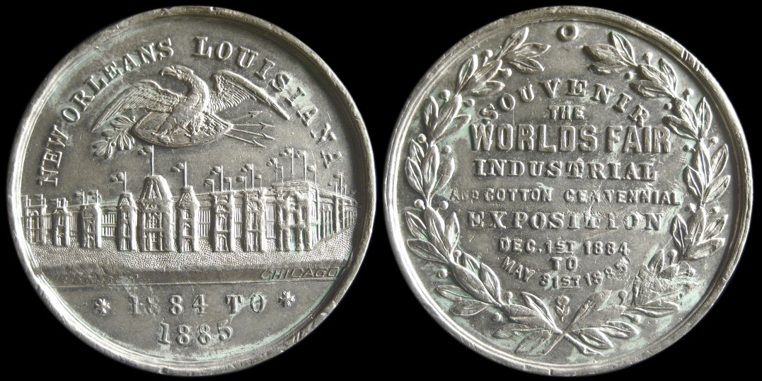 Worlds Fair Industrial Cotton Centennial 1884 1885 New Orleans Medal