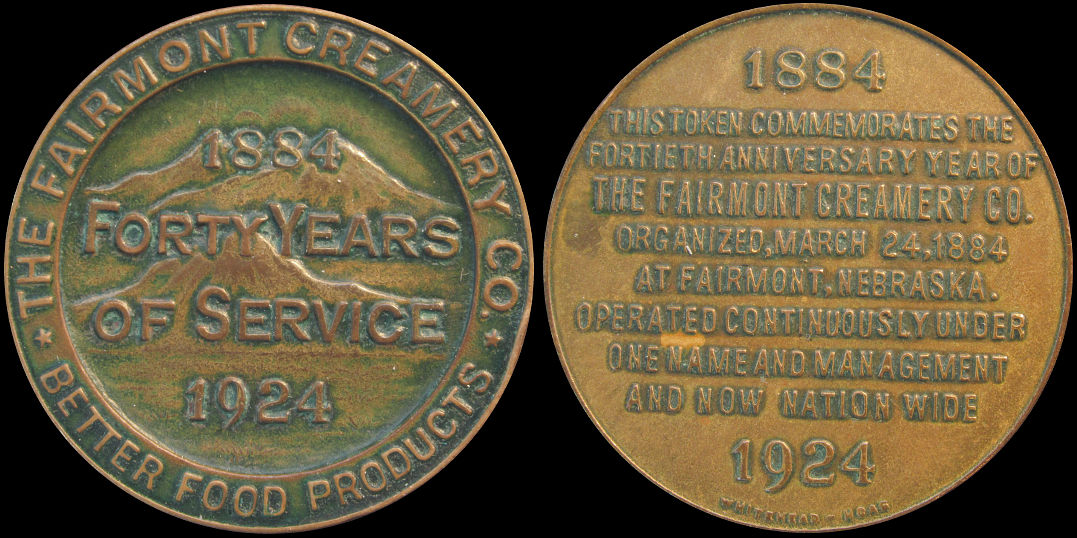 The Fairmont Creamery Forty Years Of Service 1924 Nebraska Medal