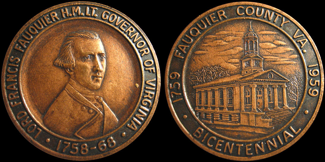 Governor Lord Francis Fauquier County Bicentennial 1859 Medal