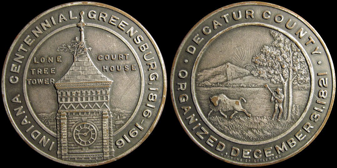 Indiana Centennial Greensburg and Decatur County 1916 Medal