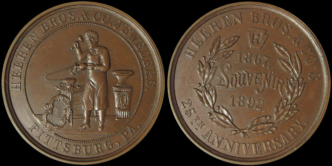 Heeren Brothers Jewelers Pittsburg 25th Anniversary 1892 Medal