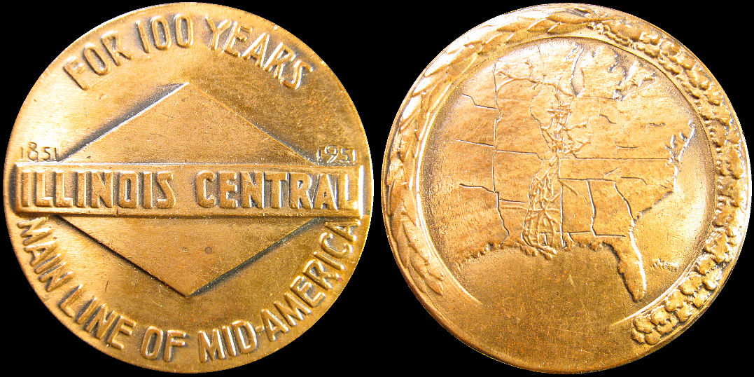 Illinois Central Railroad For 100 Years 1851-1951 Medal