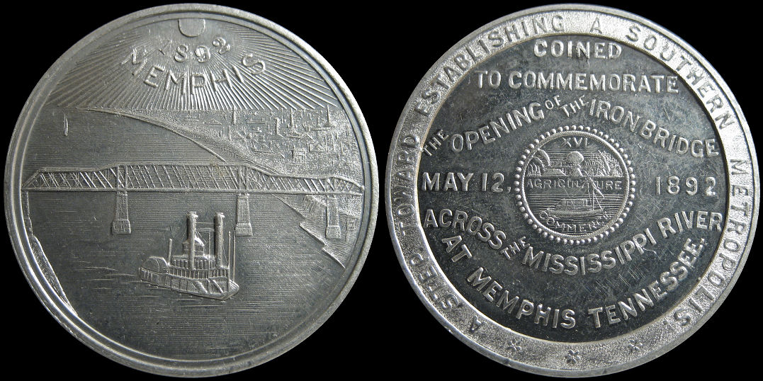 Opening Iron Bridge Across The Mississippi at Memphis 1892 Medal
