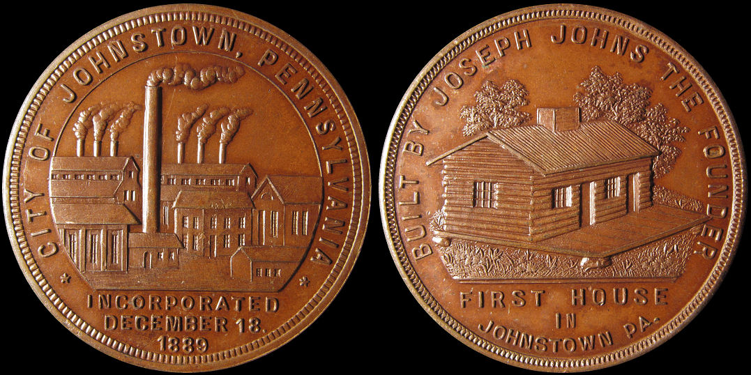 Johnstown Pennsylvania 1889 First House by Joseph Johns Medal