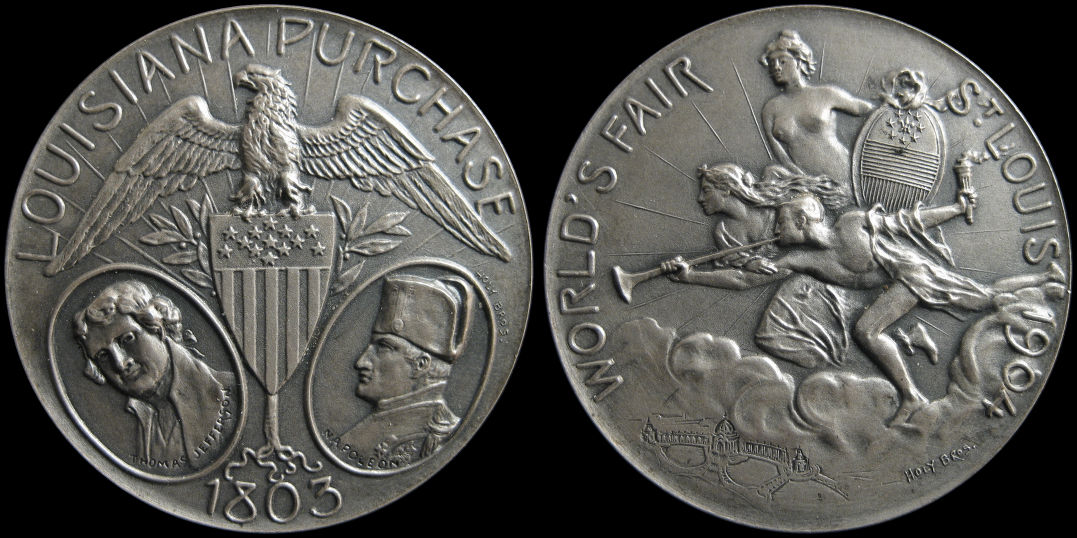 Saint Louis 1904 Worlds Fair Louisiana Purchase Silver Medal