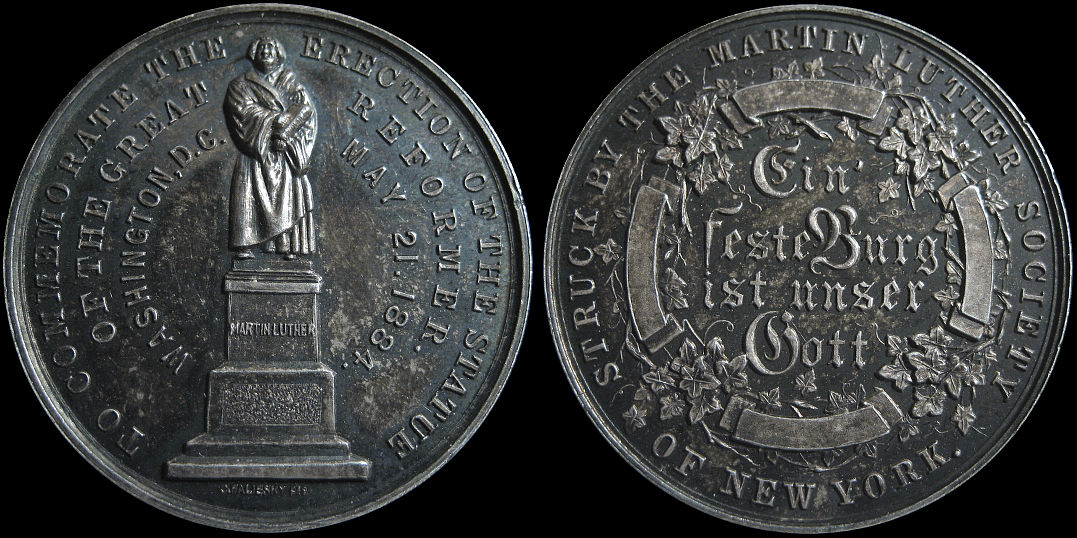 Erection of the Martin Luther Statue New York 1884 Medal