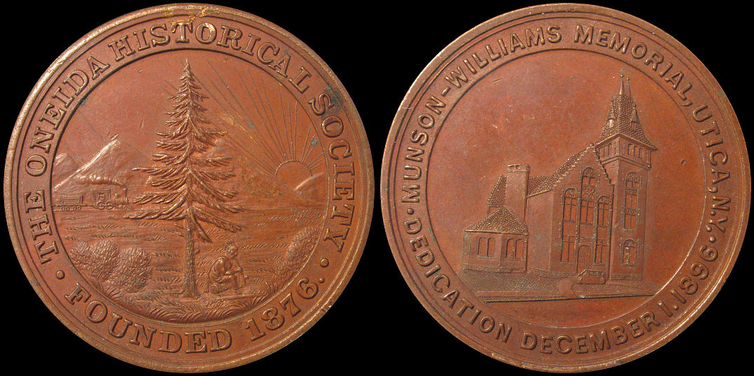 Munson Williams Memorial Dedication Utica Oneida Historical 1896 Medal