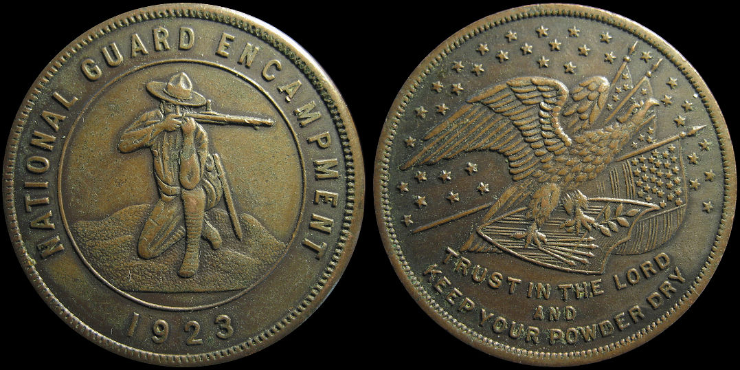 National Guard Encampment 1923 Trust In The Lord Keep Powder Dry Medal