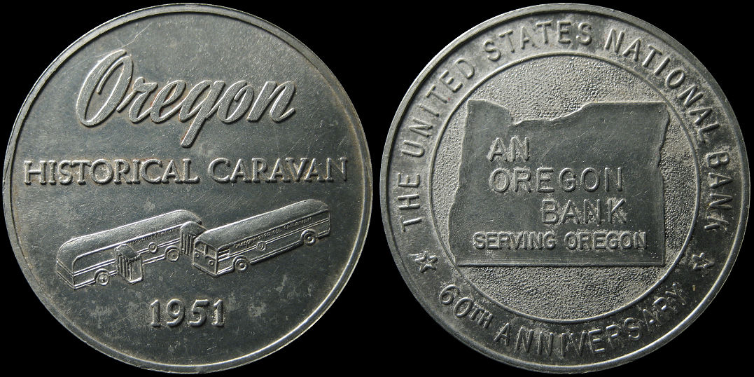 60th Anniversary US National Bank Oregon Historical Caravan 1951 Token