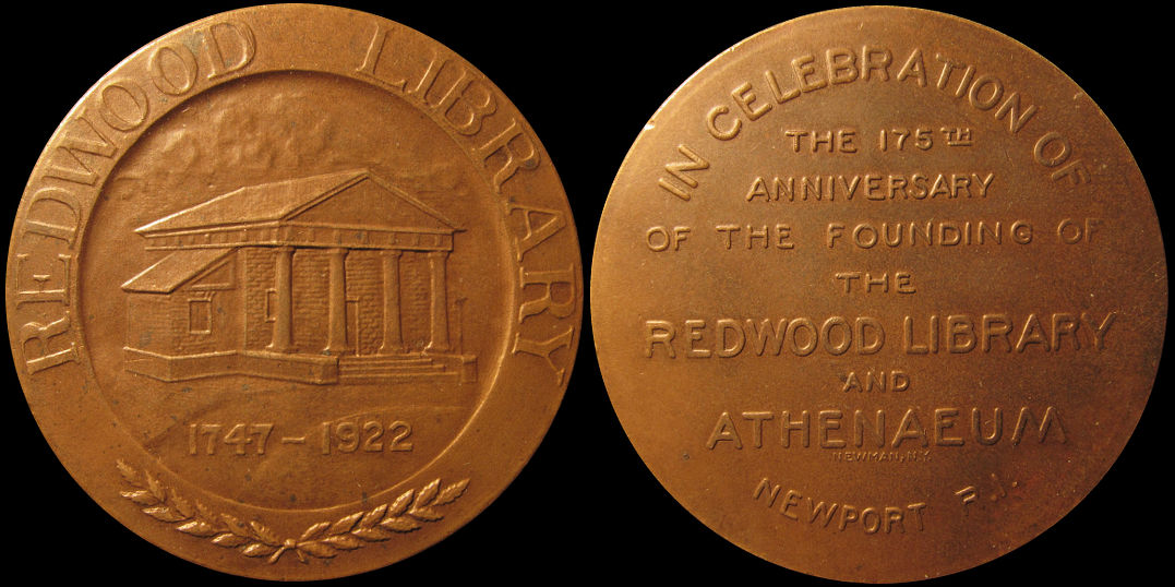 Redwood Library and Athenaeum 175th Anniversary New Port R.I. Medal