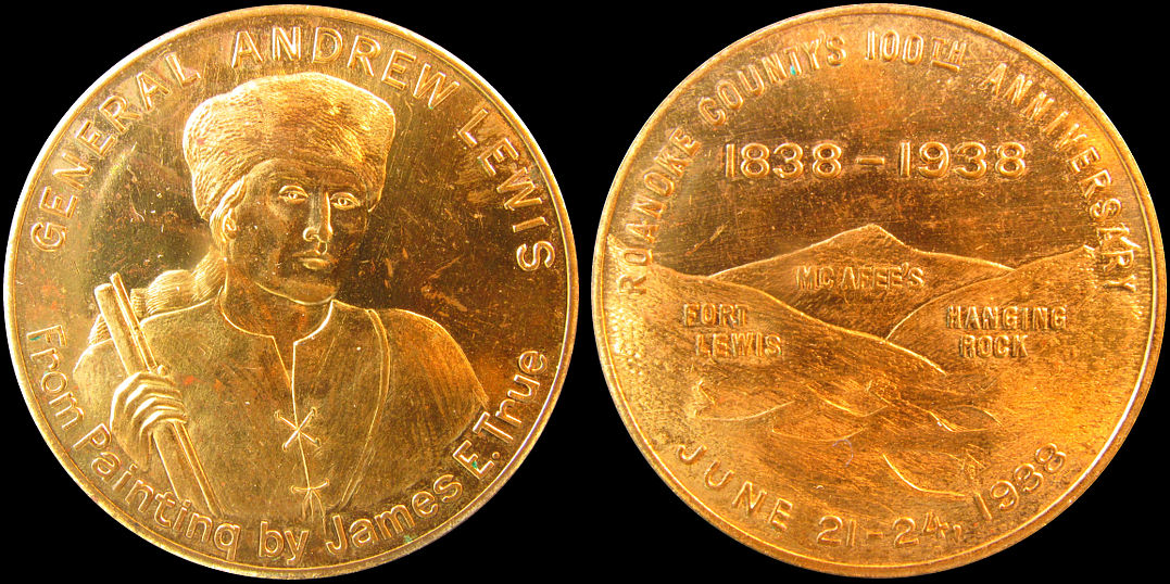 Roanoke County 100th Anniversary 1938 General Andrew Lewis Medal Token