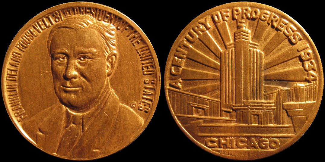 Franklin Roosevelt A Century Of Progress 1934 Medal