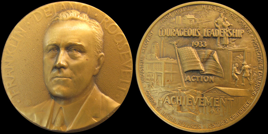 Franklin Roosevelt 1933 Worlds Fair Courageous Leadership Medal