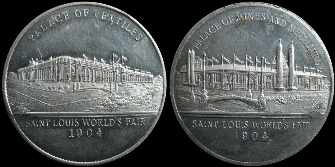 Palace of Textiles and Palace of Mines and Metallurgy St Louis 1904 Medal