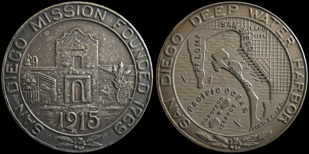 Panama California 1915 San Diego Mission Deep Harbor Medal