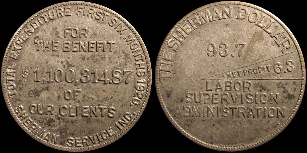 Sherman Dollar Total Expenditure Sherman Service Inc. Medal