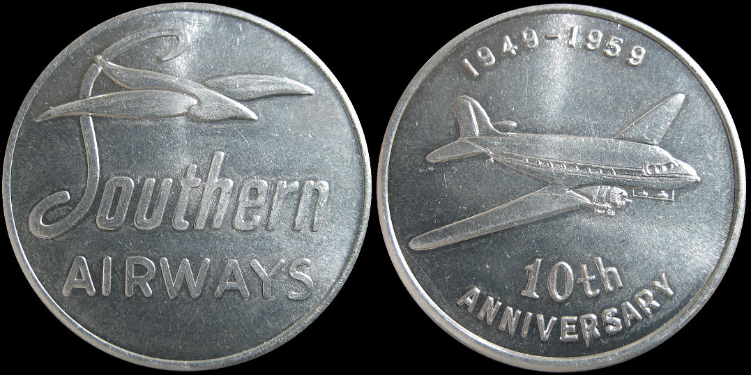 Southern Airways 10th Anniversary 1959 Token