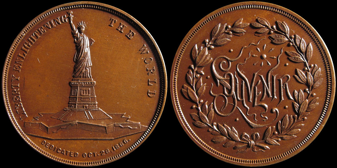 Statue of Liberty Enlightening The World Souvenir 1886 Medal