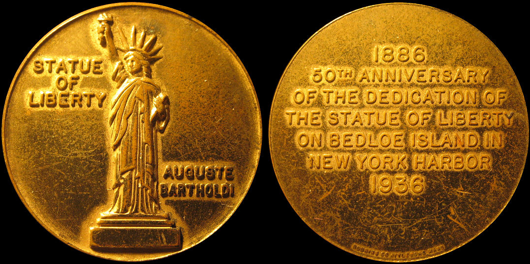 Statue of Liberty 50th Anniversary Souvenir 1936 Medal