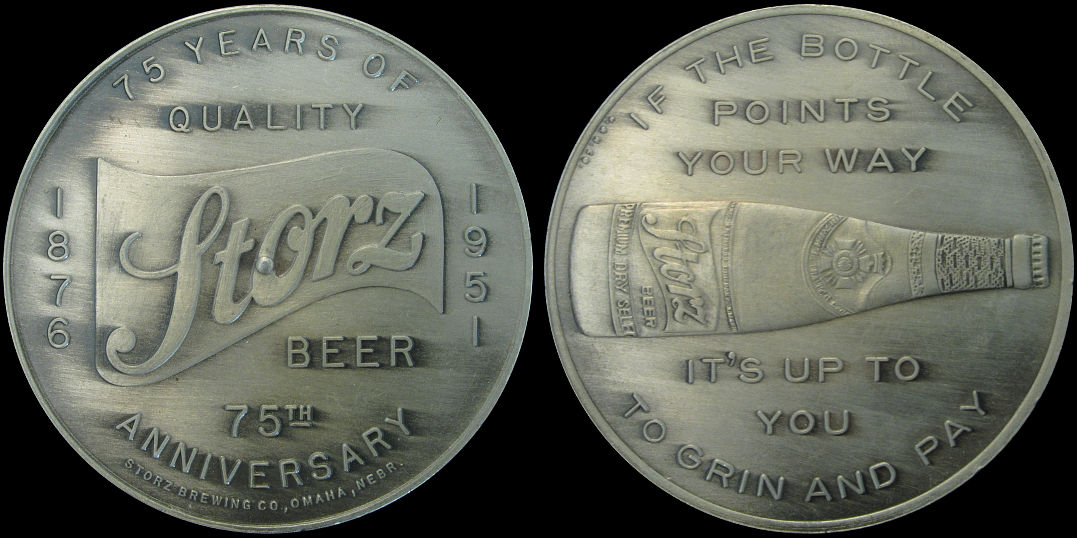75th Anniversary Storz Brewing Co, Omaha, Nebraska 1876-1951 Medal